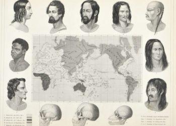 Carte du XIXe siècle des cinq « races » de l'humanité, d'après J. F. Blumenbach, 1851 (H. Winkles, J. G. Heck / Wikimédia Commons)