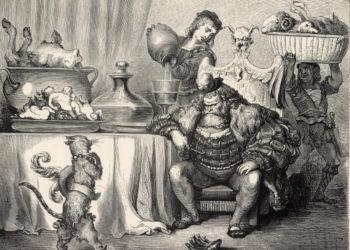 « L'Ogre le reçut aussi civilement que le peut un Ogre. » (Le Maître Chat ou Le Chat botté, gravure publiée dans les Contes de Charles Perrault avec des dessins par Gustave Doré,J. Hetzel, Paris, 1862. © Bibliothèque nationale de France)