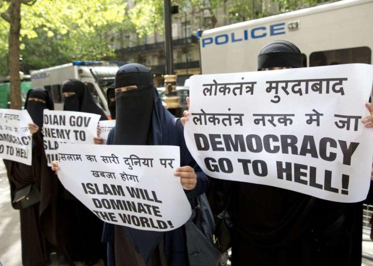 Manifestation du groupe extrémiste Need4Khilafah à Londres en 2014 (Neil Hall/Rex/Sipa)