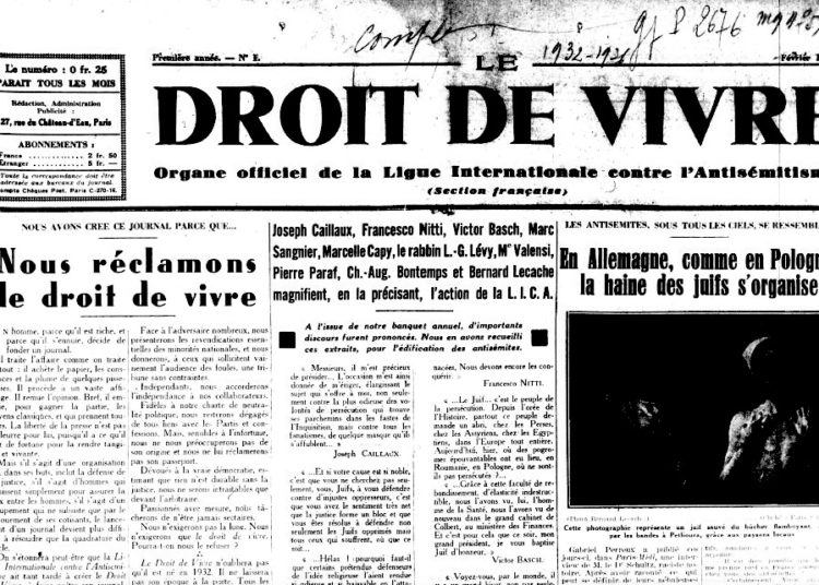 Le Droit de Vivre, février 1932, n°1